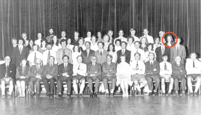 1972 staff photo, Chris circled in back row.